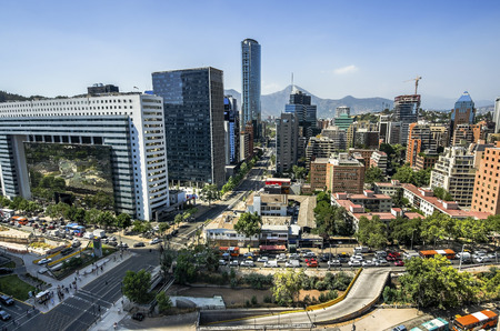 Skyline of business center in Santiago Stock Photo