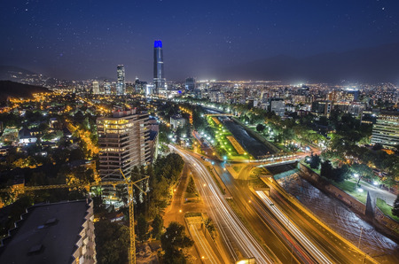 Night view of Santiago de Chile with star sky