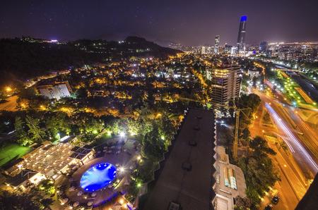 Night view of Santiago de Chile Фото со стока