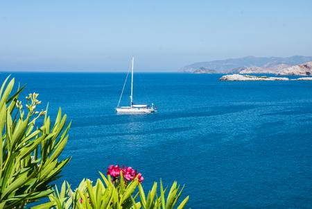 mallorca: Deep blue mediterranean sea with boat lanscape, Crete Greece