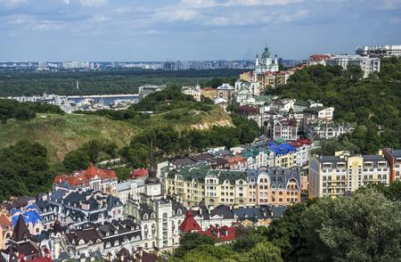 colorfull: Vozdvizhenka elite district in Kiev, Ukraine . Top view on the roofs of buildings with St Andrew Church at Kiev, Ukraine