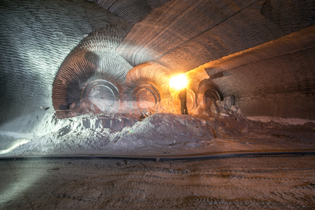 Mine machines in underground mines. Ukraine, Donetsk Stock Photo