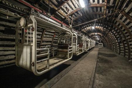 machinery: Illuminated, Underground Tunnel in the Mine