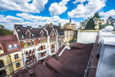 Vozdvizhenka elite district in Kiev, Ukraine . Top view on the roofs of buildings. Stock Photo