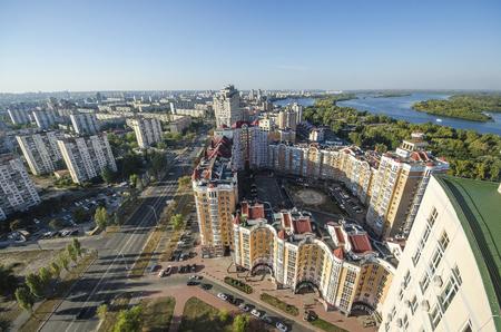 Obolon Kiev view, Dnipro Kiev Ukraine city, cathedral Obolon