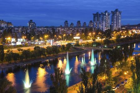 The largest fountain in Kiev, Rusanovka fountains panorama. Kiev,Ukraine
