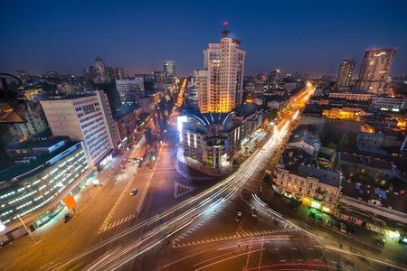 City view, center panorama with lon exposure, modern bulding Kiev, Ukraine