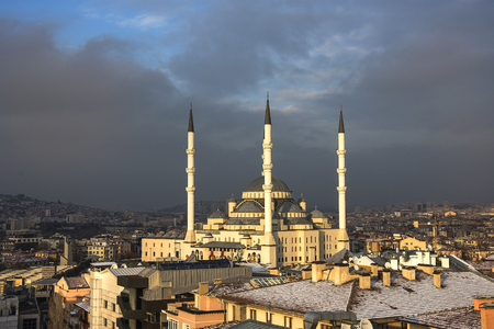 city park skyline: Kocatepe Mosque in Ankara,Turkey at sunset winter time