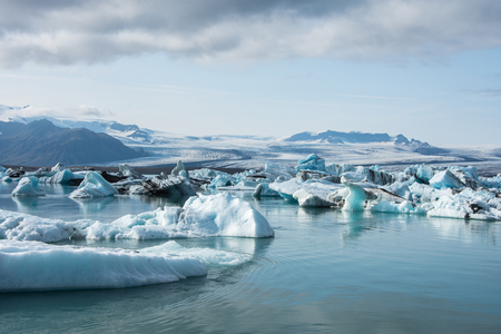 Detailed photo of the Icelandic glacier iceberg in a ice lagoon Stock Photo