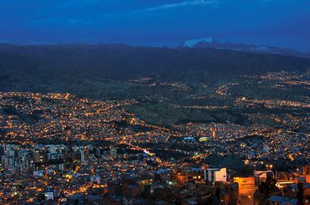 Panorama of night La Paz, Bolivia. Beautiful Landscape of the city La Paz