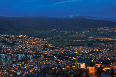 Panorama of night La Paz, Bolivia. Beautiful Landscape of the city La Paz