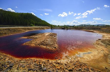 Industrial landscape in Karabash, Chelyabinsk region, Russia. Dead land in Karabash