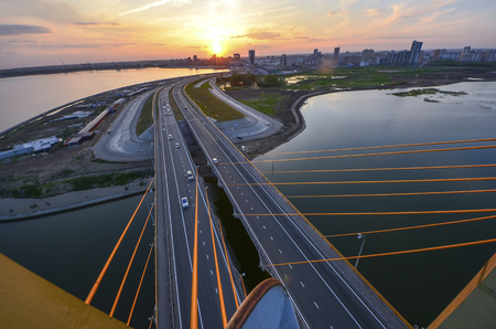 Millenium bridge in Kazan aerial view at sunset time with panoramic view of Kazan city. On the top of Millenium bridge in Kazan, Russia Stock Photo