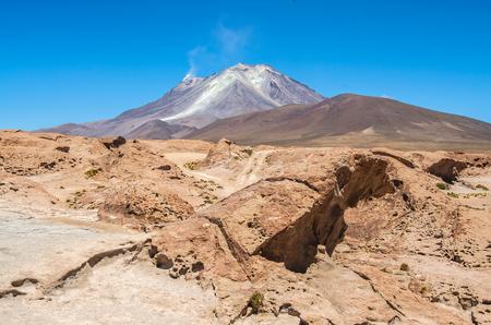 View of the crater of Tunupa Volcano near Uyuni, Bolivia. Beautiful volcano landscape
