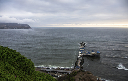 Panoramic view of the green coast from Miraflores (LIMA. PERU) Stock Photo