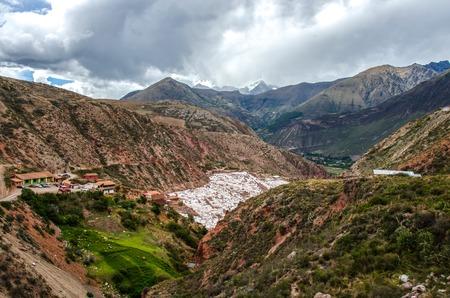 Picturesque view of terraces of Salinas de Maras, Peru. Salt natural mine. Inca Salt pans at Maras, near Cuzco in Sacred Valley, Peru