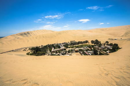 Hucachina oasis and sand dunes near Ica, Peru Stock Photo