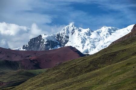 Vinicunca, Peru - Rainbow Mountain (5200 m) in Andes, Cordillera de los Andes, Cusco region in South America. Mountains Peru landscape Stock Photo