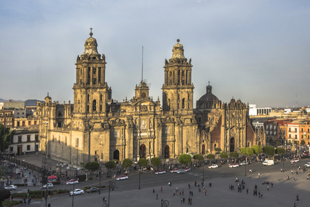 Constitution Square (Zocalo) view from the dome of the Metropolitan Cathedral