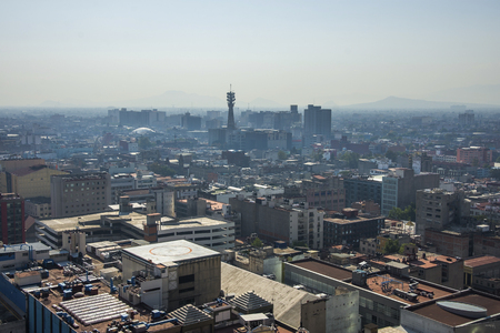 Aerial view of a neighborhood called Colonia Juarez in Mexico City, Mexico, on a sunny morning with some haze. Landscape of Mexico Imagens - 99241727