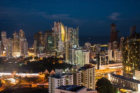 Financial center of Panama City, Panama at night time