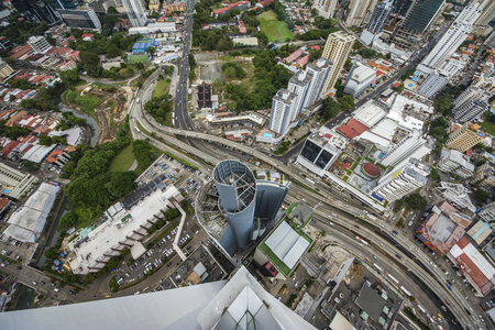 Aerial view of the modern skyline of Panama City , Panama. View from the top of building in Panama city Stok Fotoğraf