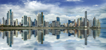 Wide panorama of Panama City Skyline - Panama City, Panama