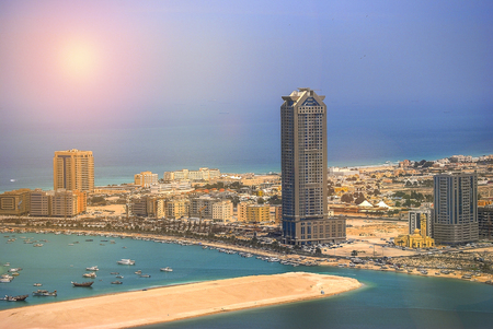 View of Abu Dhabi city in the United Arab Emirates Stock Photo