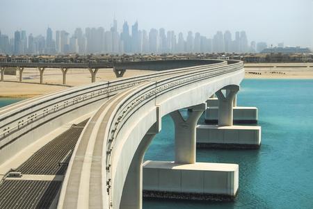 Monorail bridge on a man-made island Palm Jumeirah at Dubai, UAE Reklamní fotografie