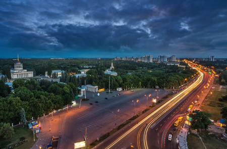 Exhibition Center at Kiev, vdnh, night panoramic view of exhibition pavilion, kiev, monument, Ukraine Reklamní fotografie