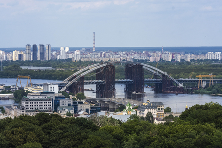 Rusty unfinished bridge in Kiev, Ukraine Stock Photo