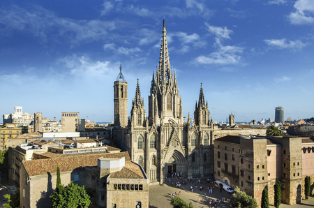 Gothic Barcelona Cathedral view with beautiful sky, Spain