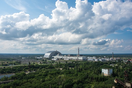 Aerial. Unfinished Cooling Tower Of The Chernobyl Nuclear Power Plant. 스톡 콘텐츠