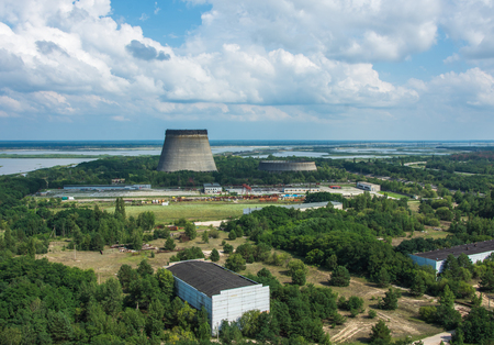 Aerial. Unfinished Cooling Tower Of The Chernobyl Nuclear Power Plant. Stock Photo
