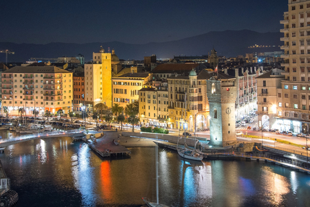 Lights of Savona, Italy at night time background