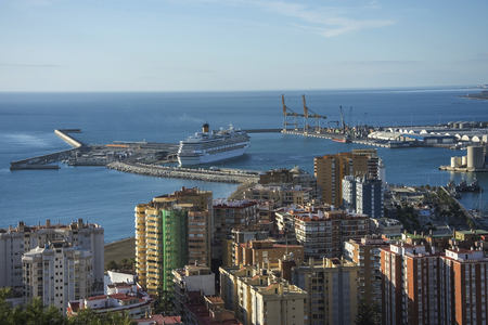 Panoramic aerial view of Malaga in a beautiful autumn day, Spain