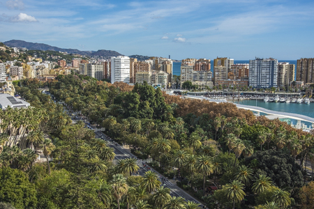 Cityscape aerial view of Malaga, Spain. The Cathedral of Malaga is a Renaissance church in the city of Malaga in Andalusia in southern Spain. 版權商用圖片