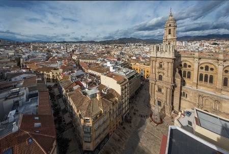 Aerial view of Cathdral in Malaga, Andalusia, Spain