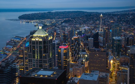 Seattle City at Night aerial view