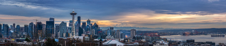 Seattle wide panorama with Space Needle and Mt. Rainier