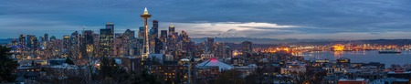 Seattle city panorama at dusk. Downtown Seattle cityscape at night
