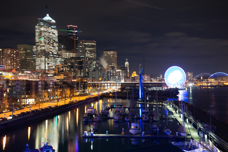 downtown Seattle, Pier 66 view at night