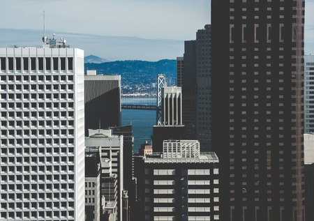 Vintage stylized photo of skyscrapers in San Francisco City, California, USA.