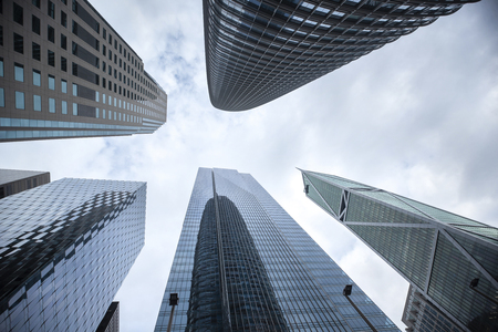 Highrises in San Franciscos Financial District, look up view