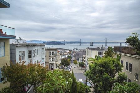urban houses in San Francisco. Street view at San Francisco landmark