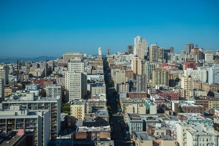 Aerial cityscape view of San Francisco, California, USA. San Francisco skyline