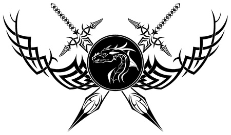 The image is black a white symbol in the form of swords of a dragon and patterns
