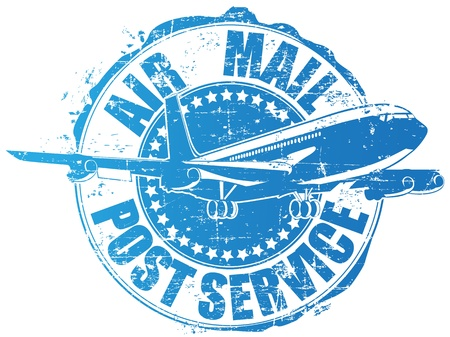 air mail: The image of a stamp of post service