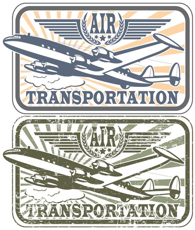 The image of Air transportation stamp Stock Vector - 13954943
