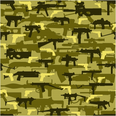 The image of a color camouflage on a green background in the form of drawing without a seam with use of the modern weapon Stock Vector - 13995305